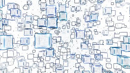 Fototapeta Abstract Floating Cubes Sketch Illustration - Blue