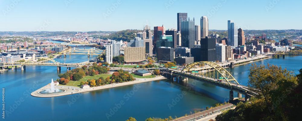 Fototapeta Panoramic view on Pittsburgh, PA