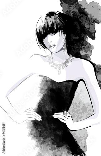 kobieta-w-czarnej-sukni-i-krotkich-wlosach