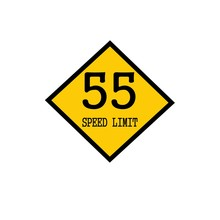 Speed Limit 55 Black Stamp Text On Background Yellow