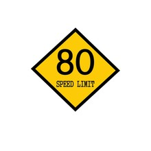 Speed Limit 80 Black Stamp Text On Background Yellow