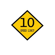 Speed Limit 10 Black Stamp Text On Background Yellow