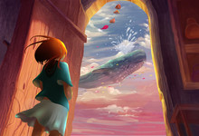 Illustration: That Day When The Girl Opened The Door, She Saw A Scene She Will Never Forget - A Whale In The Sky. Song Of The Sea Series. Fantastic/Realistic/Cartoon. Wallpaper/Background/Scene Design