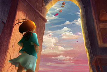 Illustration: Illustration: The Girl Lived by the Sea. Song of the Sea Series. Removed the Flying Whale. Fantastic / Realistic / Cartoon Style. Wallpaper / Background / Scene Design