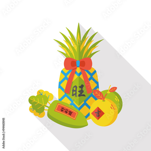 Foto op Canvas Vogels in kooien Chinese New Year lucky pinapple flat icon