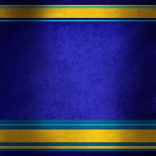 Elegant Blue Background With Gold Ribbons And Blue Stripes In Random Pattern, Distressed Sapphire Blue Texture And Shiny Metallic Gold Ribbon Color