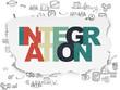 Finance concept: Integration on Torn Paper background
