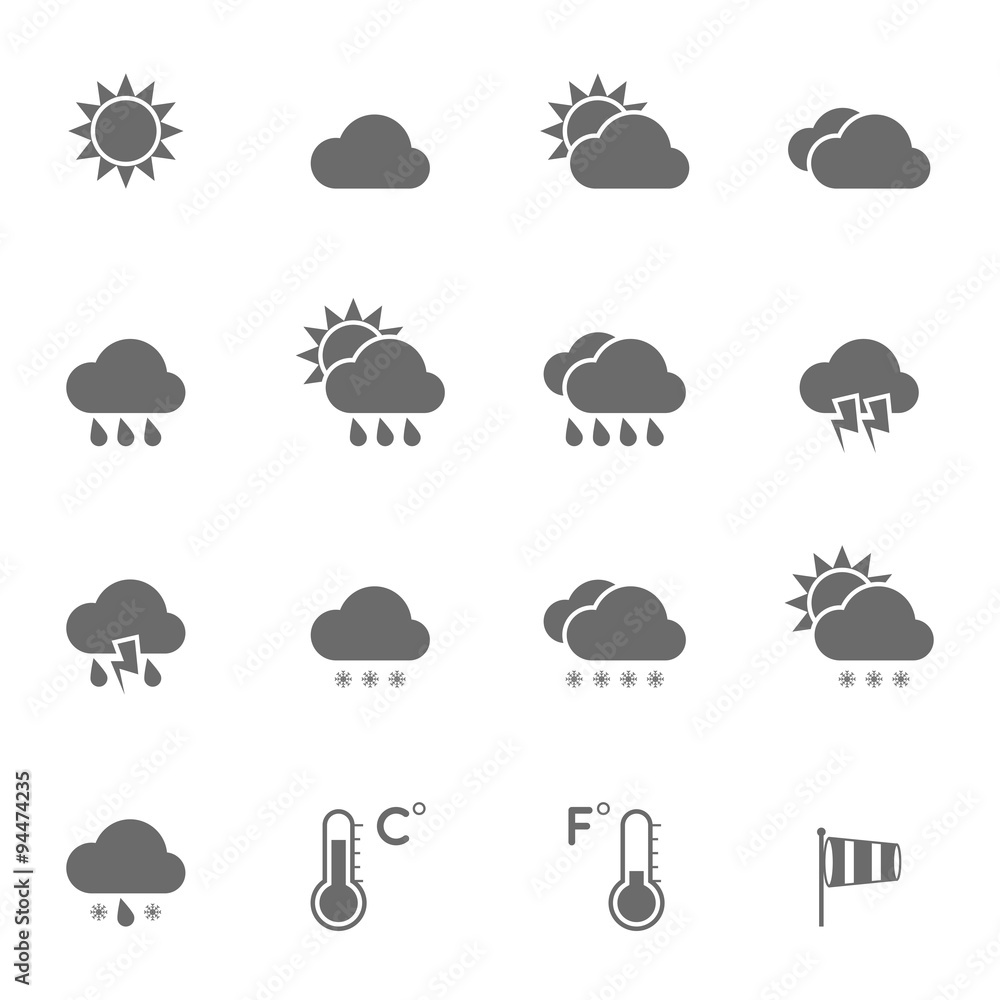Obraz Weather Icons Set fototapeta, plakat