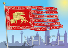 Venice Flag And Silhouette