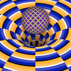 FototapetaOptical illusion of the ball is falling into a hole. Abstract background.