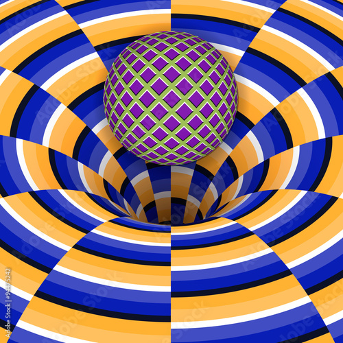 Optical illusion of the ball is falling into a hole. Abstract background. - 94475242