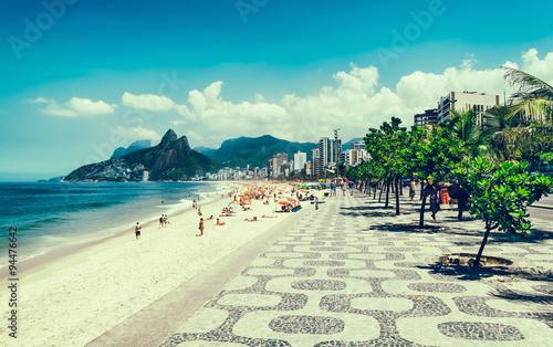 Door stickers Rio de Janeiro Ipanema beach with mosaic of sidewalk in Rio de Janeiro. Brazil