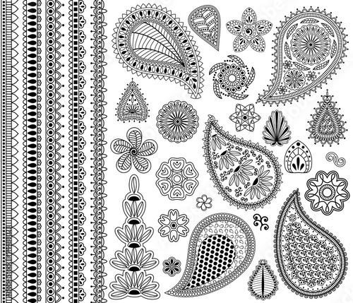 Obraz na plátně Vector vintage floral doodle elements