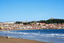 North Yorkshire Coastline Scarborough Town And Beach