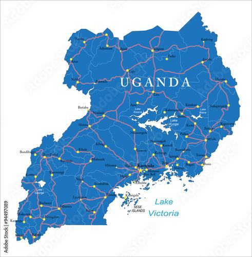Uganda map Wall mural