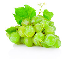 Fresh Bunch Of Green Grapes With Leaves Isolated On White