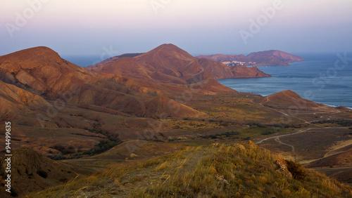 Fotobehang Fantasie Landschap Mountains and sea at sunset in the surroundings of Koktebel.Crimea.