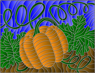 Vector illustration of pumpkin in stained glass style