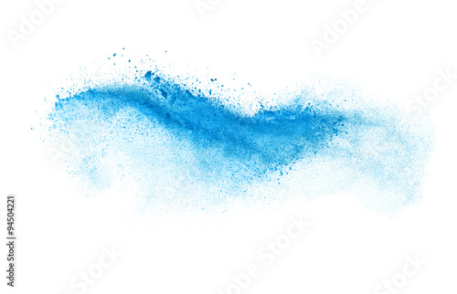 Valokuvatapetti Freeze motion of blue dust explosion isolated on white backgroun