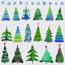 Christmas Trees  And Snowflake...