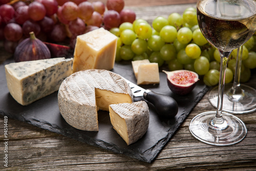 Vászonkép Wine and cheese