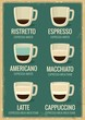Coffee menu icon set. Coffee beverages types and preparation: ristretto, espresso, americano, macchiato, latte, cappuccino. Vector flat illustration for retro poster, Emblem, Logo, web, info graphic.
