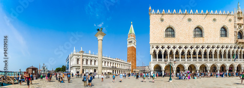 Poster Venice Beautiful view of Piazzetta San Marco with Doge's Palace and Campanile, Venice, Italy