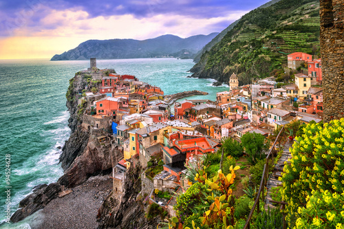 Photo sur Toile Ligurie Vernazza in Cinque Terre, Liguria, Italy, on sunset