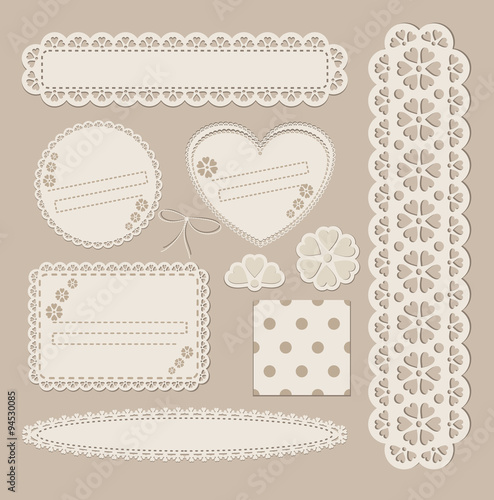 Cuadros en Lienzo Scrapbook set with different elements - scrapbook paper