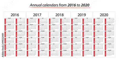 Calendario 2020 Chile Vector.Calendario Annuale Dal 2016 Al 2020 Buy This Stock Vector