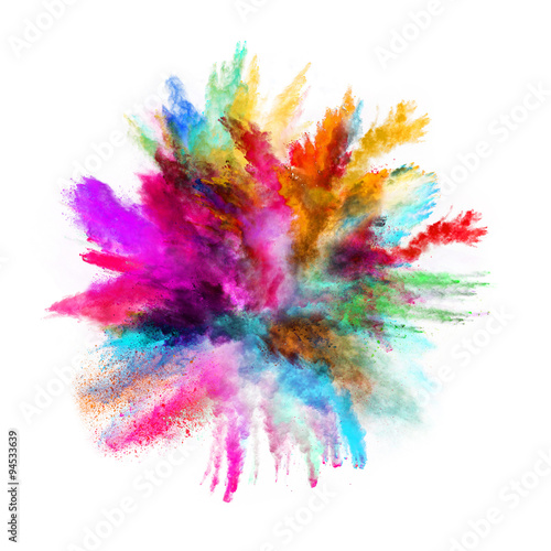 Launched colorful powder on black background Плакат