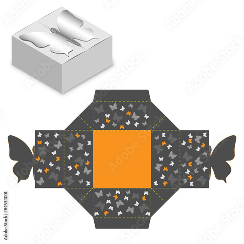 Gift Box Packaging Template Box Design Die Stamping Folding Ready