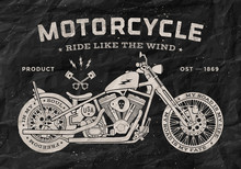 Vintage Race Motorcycle Old School Style. Black And White Poster, Print For T-shirt. Vector Illustration
