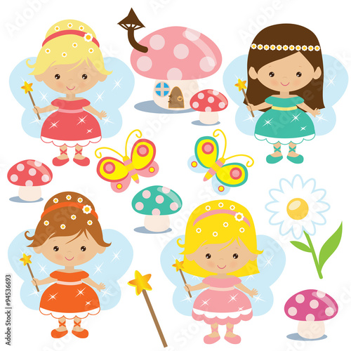 plakat Cute fairy vector illustration