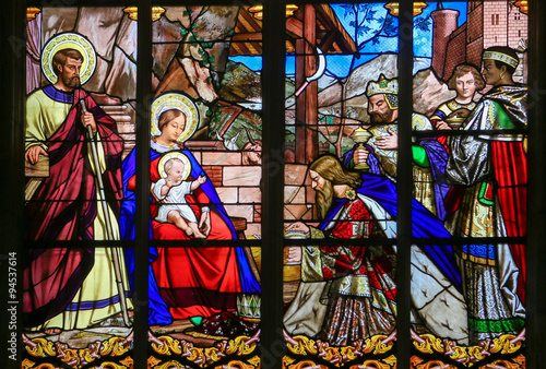 Fotografie, Obraz  Epiphany Stained Glass in Tours Cathedral - Three Kings