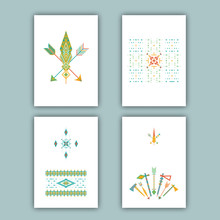 Set Of Cards With Ethnic Design. Arrows, Feathers, Tomahawks. Aztec, Tribal, Mexican, Native American Elements. Templates For Flyers, Booklets, Greeting Cards, Invitations, Birthday And Advertising.