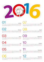 Calendar 2016, All Mount, 2 Weeks Line. Year Of The Monkey.