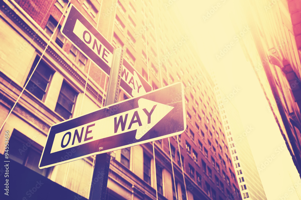 Fototapeta Vintage style photo of the one way signs in Manhattan, NYC.