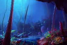 Illustration: The Depth Of The Ocean. Silent, Dark Yet Beautiful. - Scene Design - Fantastic