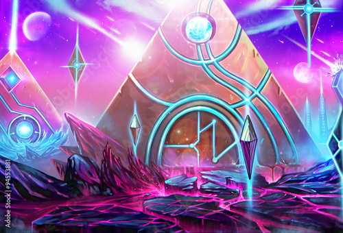 Fototapeta Illustration: The Pyramids City - It's a civilization conquered by the High Priest who has been exiled by the Queen