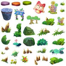 Illustration: Isolated Natural Elements Set 9 - Game Assets Design