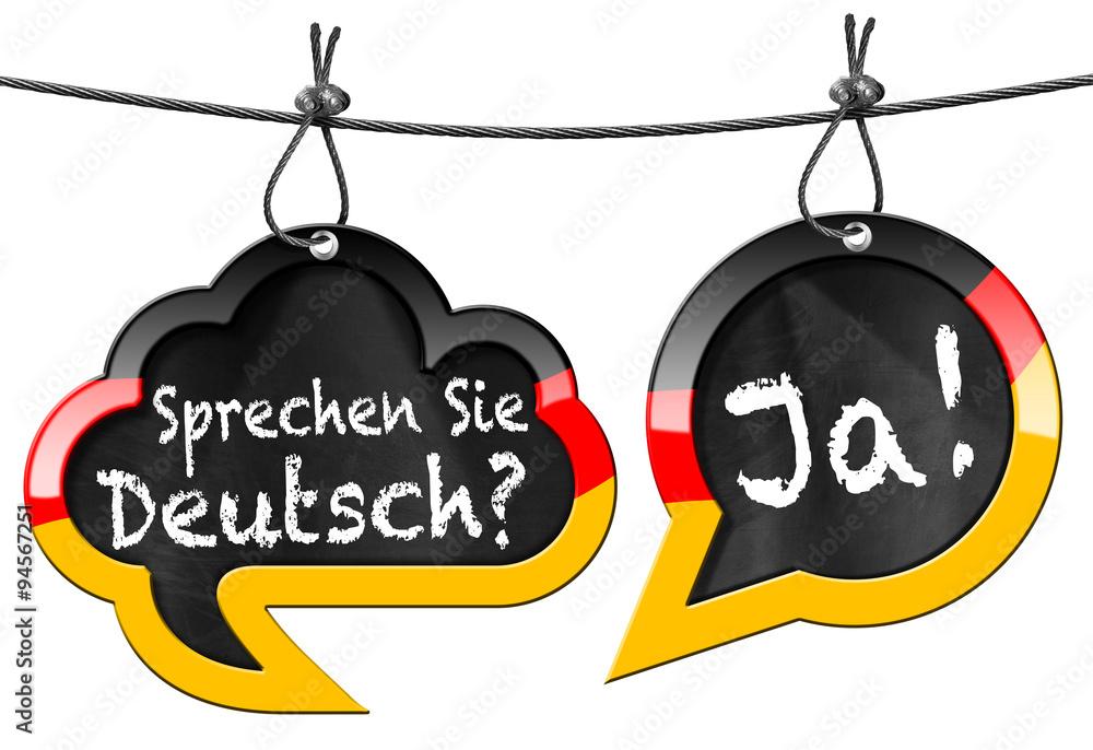 Fototapeta Sprechen Sie Deutsch - Speech Bubbles / Two speech bubbles with German flag and text Sprechen Sie Deutsch? Ja! (Do you speak German? Yes!). Isolated on white