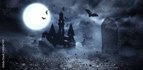 Bats flying to draculas castle Canvas