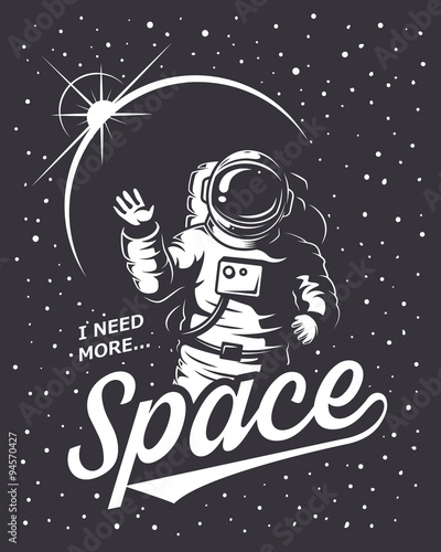 T-shirt design print. Space theme. Monochrome style Fototapeta