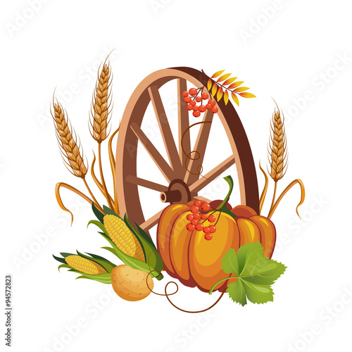 Fotografia  Wheel with Vegetables and Stalks Vector