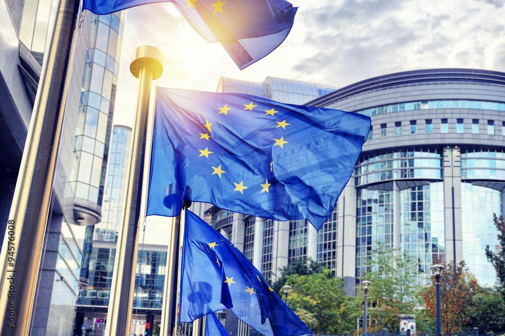Fototapeta EU flags waving in front of European Parliament building in Brus