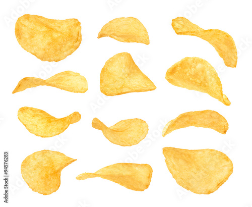 Fotografía  Set of potato chips close-up on an isolated white background