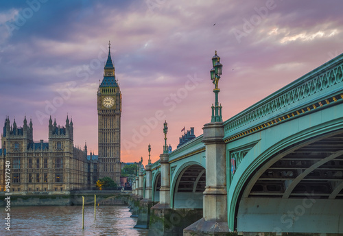 Poster London Westminster Bridge with the Big Ben at sunset, London, UK