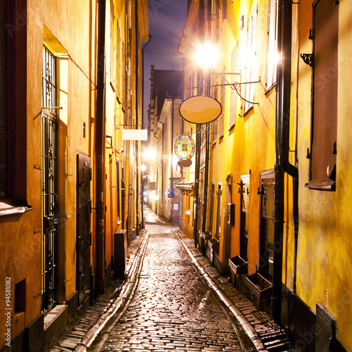 obraz lub plakat The night street in Gamla Stan, Stockholm.