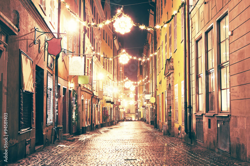 Photo  The night street in Gamla Stan, Stockholm.